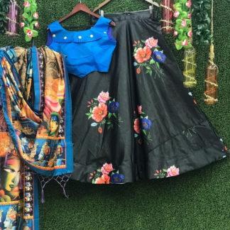 Amazeballs Blue & Black Silk With Top Crop Top Lehenga Choli
