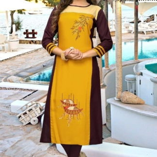 Astonishing Yellow Rayon Ready Made Embroidered  Kurti