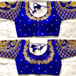 Radiant Royal Blue Silk With Sequence Ready Work Ready Made Blouse