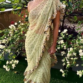Glorious Green Net Ruffle Embroidered Sequence Saree Designer Saree