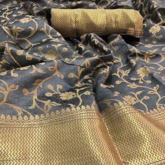 Gorgeous Grey Silk With Pallu Designer  Saree