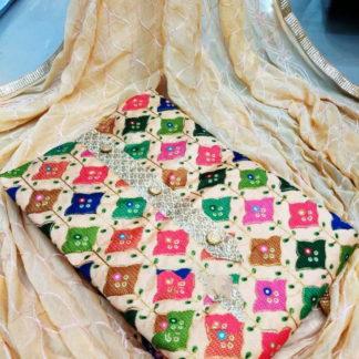 Smashing Cream Fancy Printed Salwar Suit