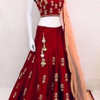 Pulchritudinous Red Tapetta Silk With Embroidered Choli Lehenga Choli