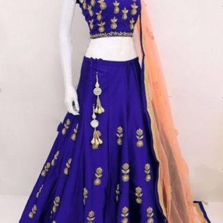Extraordinary Blue Tapetta Silk With Embroidered Choli Lehenga Choli