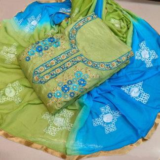 Beautiful Sky Blue & Pista Embroidered Cotton Chanderi Cotton Salwar Suit