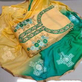 Attractive Yellow & Green Chanderi Cotton Salwar Work Salwar Suit