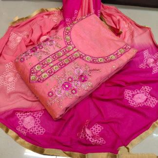 Lovely Pink & Rani Chanderi Cotton Work Embroidered Work Salwar Suit