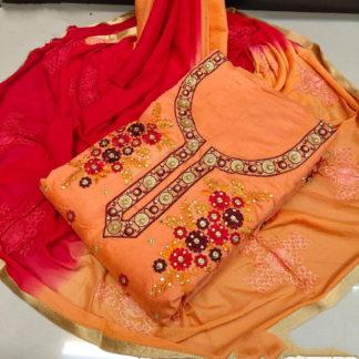Good-Looking Fanta & Red Chanderi Cotton Work Embroidered Work Salwar Suit