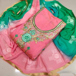 Comely Green & Peach Chanderi Cotton Work Embroidered Work Salwar Suit