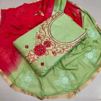 Sensational Red & Pista Chanderi Cotton Salwar Work Salwar Suit