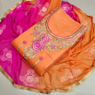 Radiant Rani & Orange Chanderi Cotton Salwar Work Salwar Suit