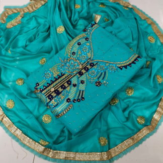 Dazzling Rama Cotton With Embroidered Work  Suit