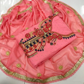 Devastating Peach Cotton With Embroidered Work  Suit