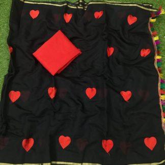 Charming Black Chanderi Silk Embroidered Work  Saree
