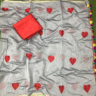 Knockout Grey Chanderi Silk With Embroidered Saree Designer Saree