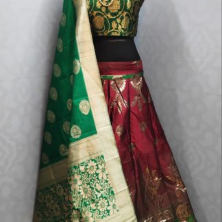 Party Wear Green & Red Stylish Banarasi Lehenga with Ready made Blouse onlineshopping store in India