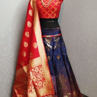 Function Wear Blue & Red Beautiful Banarasi Lehenga with Ready made Blouse onlineshopping store in India