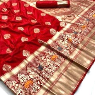 Wedding Wear Lovely Red Colored Banarasi Silk Saree onlineshopping store in India