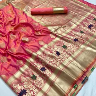 Wedding Wear Entrancing Pink Colored kasturi Soft Silk Saree And Silk Blouse onlineshopping store in India