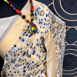 Wedding Wear Cream & Blue Colored Soft Banarasi Silk Saree onlineshopping store in India