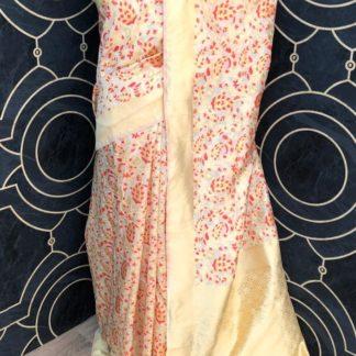 Wedding Wear Cream & Red Soft Banarasi Silk Saree onlineshopping store in India