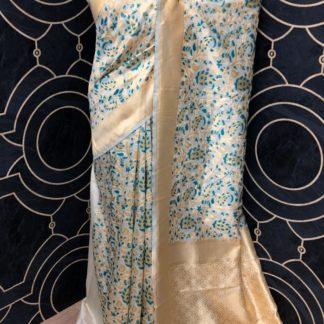 Function Wear Cream & Rama Blue Colored of Banarasi Silk Saree onlineshopping store in India