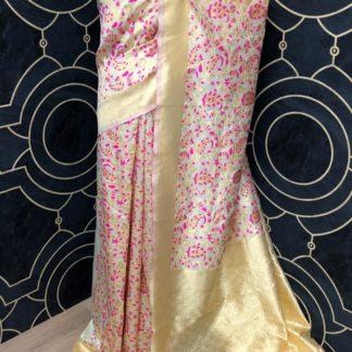 Womens Wear Cream & Pink Banarasi Soft Banarasi Silk Saree onlineshopping store in India