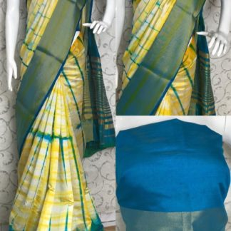 Party Wear Yellow & Blue Designer Tussar Silk Sarees onlineshopping store in India