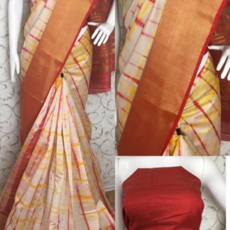 Womens Wear Blooming Orange Colored Tussar Silk Sarees onlineshopping store in India