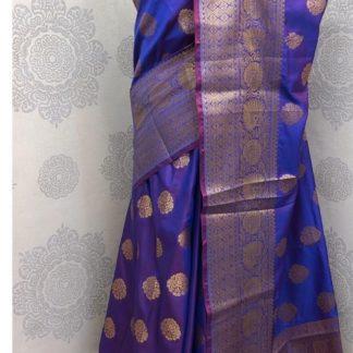 Wedding Wear Glowing Purple Colored Banarasi Silk Saree onlineshopping store in India