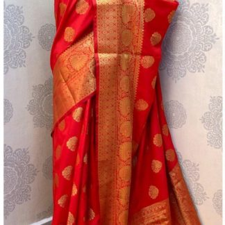 Womens Wear Capricious Red Colored Banarasi Silk Saree onlineshopping store in India
