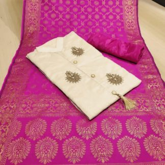 Womens Wear Pink & Cream Colored Chanderi Cotton Party Wear Suit onlineshopping store in India