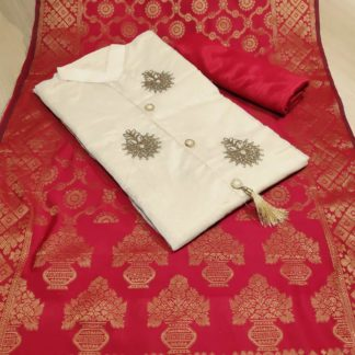Womens Wear Cream & Red Chanderi Cotton Party Wear Suit onlineshopping store in India