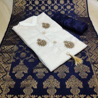 Wedding Wear Cream & Dark Blue Chanderi Cotton Party Wear Suit onlineshopping store in India