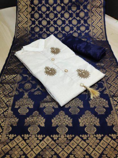 Wedding Wear Cream & Dark Blue Chanderi Cotton Party Wear Suit onlineshopping store in India