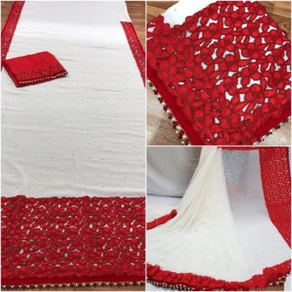 Womens Wear White & Red Designer Georgette wedding sarees onlineshopping store in India