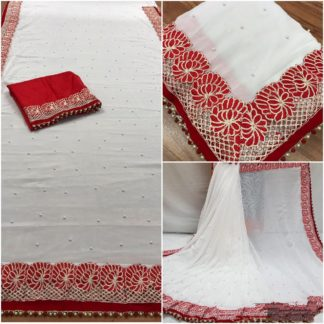 Womens Wear Red & White Designer Georgette wedding sarees onlineshopping store in India