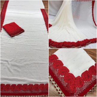 Ladies Demanding White & Red Georgette wedding sarees onlineshopping store in India