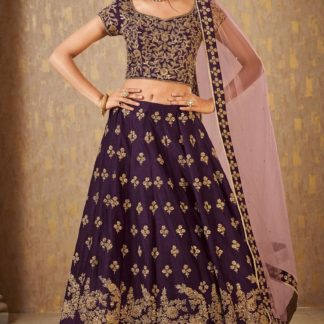 Wedding Wear Trendy Wine Colored Mulberry Silk banarasi lehenga onlineshopping store in India