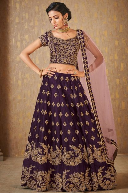 Wedding Wear Trendy Wine Colored Mulberry Silk banarasi lehenga onlineshopping store in India