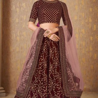 Wedding Wear Demanding Maroon Colored Mulberry Silk banarasi lehenga onlineshopping store in India