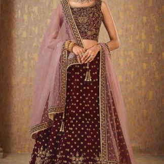 Ladies Groovy Maroon Colored Mulberry Silk banarasi lehenga onlineshopping store in India