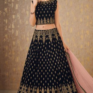 Wedding Wear Impressive Navy Blue Colored Mulberry Silk banarasi lehenga onlineshopping store in India