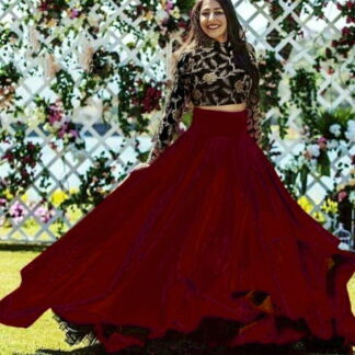 Fantastic Black and Maroon Taffeta Art Silk Embroidered Work Online Designer Lehenga Choli Fashion