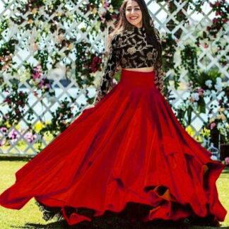 lovely Black and Red Taffeta Art Silk Embroidered Work Online Designer Lehenga Choli Fashion