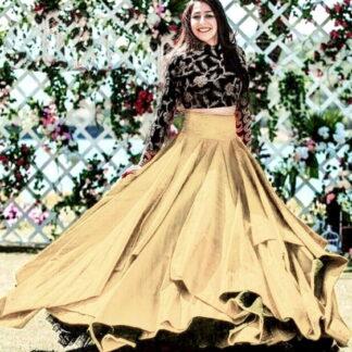 Black and Golden Taffeta Art Silk Embroidered Work Online Designer Lehenga Choli Fashion