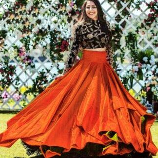 Black and Orange Taffeta Art Silk Embroidered Work Online Designer Lehenga Choli  Fashion