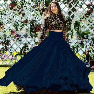 Dazzling Black & Navy Blue Taffeta Art Silk Embroidered Work Online Designer Lehenga Choli Fashion