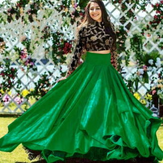 Black and Green Taffeta Art Silk Embroidered Work Online Designer Lehenga Choli Fashion
